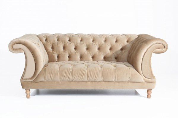 Sofa Ivette beige im Chesterfield-Look von Max Winzer