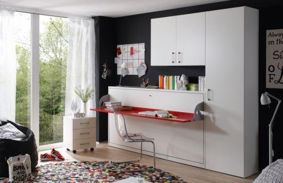 Schrankbett 2weiraumwunder von Nehl mit integrierter Schreibtischplatte
