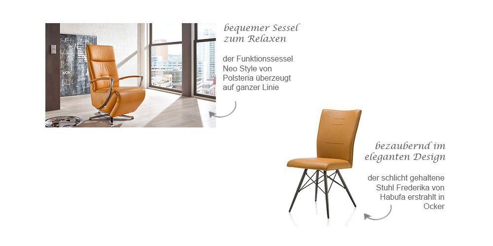 Relaxsessel Neo Style von Polsteria und Stuhl Frederika von HABUFA