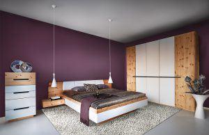 Schlafzimmer TARES von ANREI - Zirbenholz und Lacobel Glas