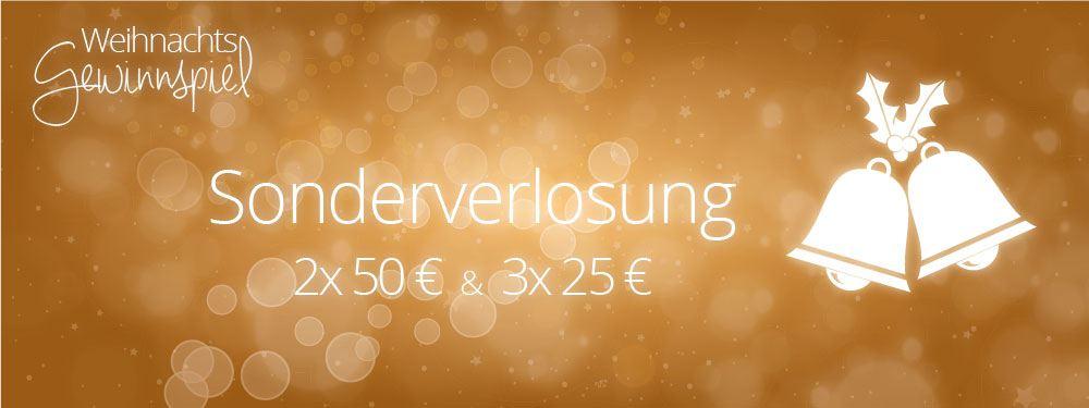 Sonderverlosung für 2x 50€ und 3x 25€ Einkaufsgutschein