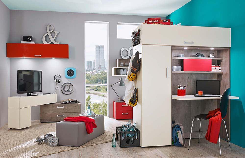 Jugendzimmer in Rot, Weiß und Grau