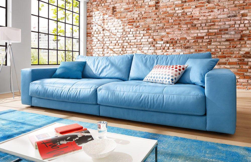 blaues Ledersofa Kingston von Candy Polstermöbel