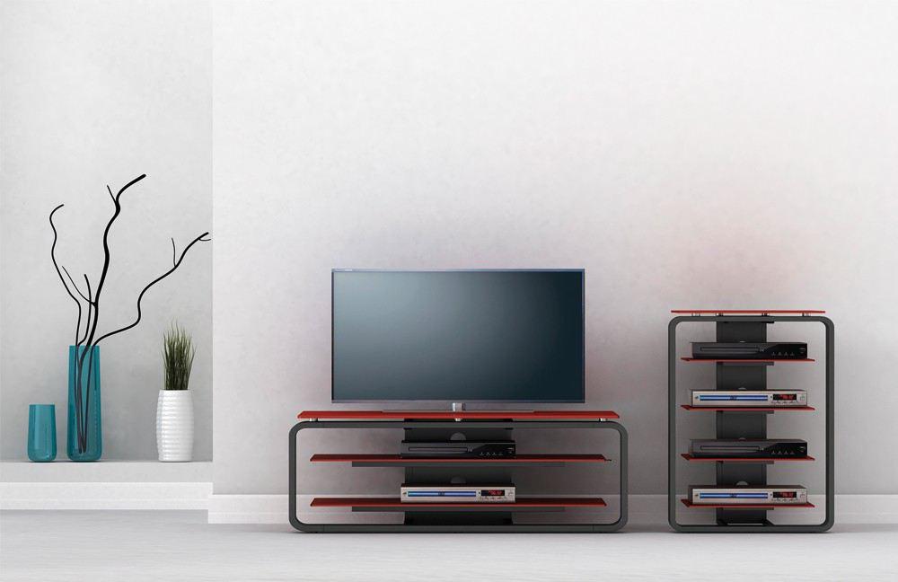 Sideboard in Rot und Schwarz