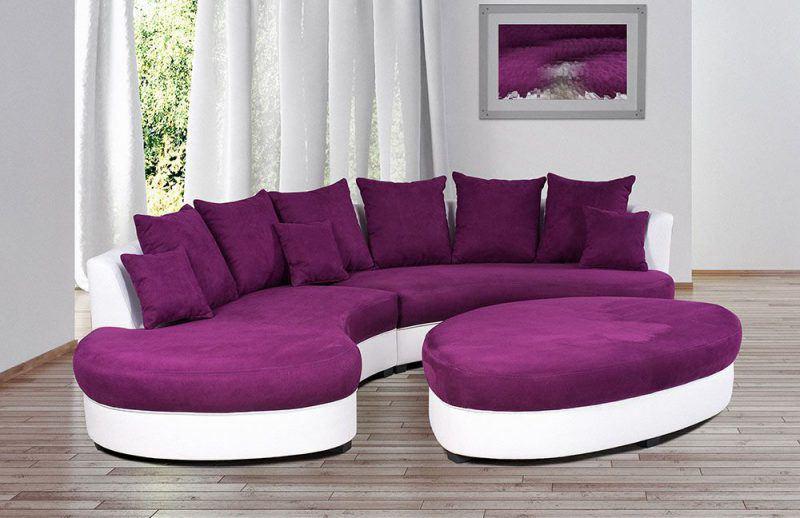 Limoncelli von Benformato - Rundsofa violett-weiß