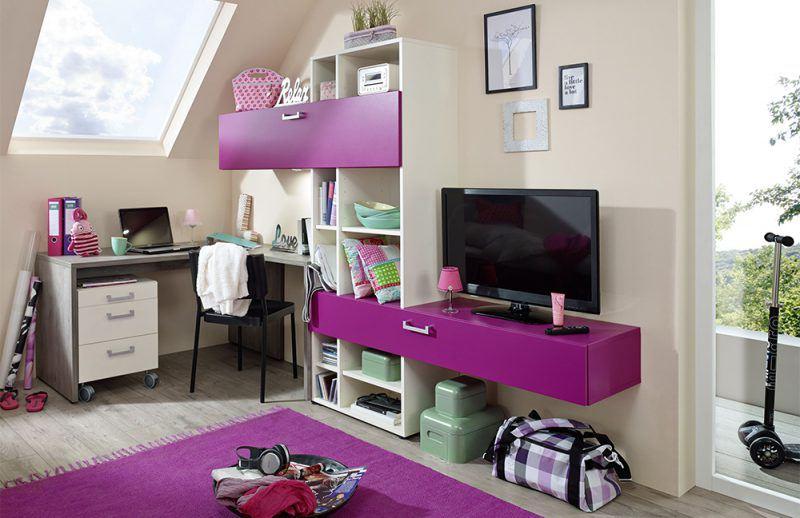 ELmore von Rudolf - Wohnwand cremeweiß purpur