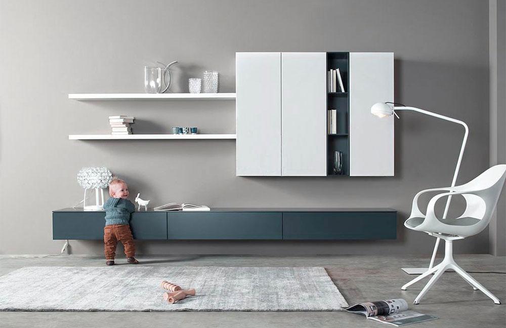 Modulare Wohnwand Cubo von Sudbrock - hier bietet ein purstistisches Wohnprogramm maximale Gestaltungsmöglichkeiten