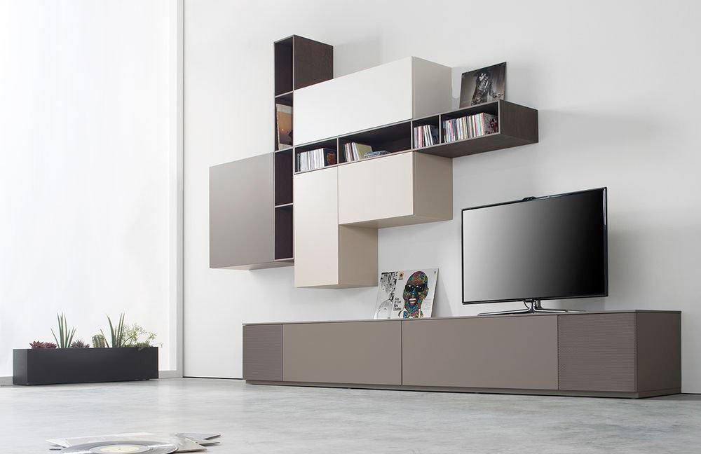 Modulare Wohnwand Cubo von Sudbrock mit Simply Box - einer eigens für Sudbrock-Möbel entwickelten Lautsprecher-Box, welche sich unauffällig hinter einer Lochblechfront befindet