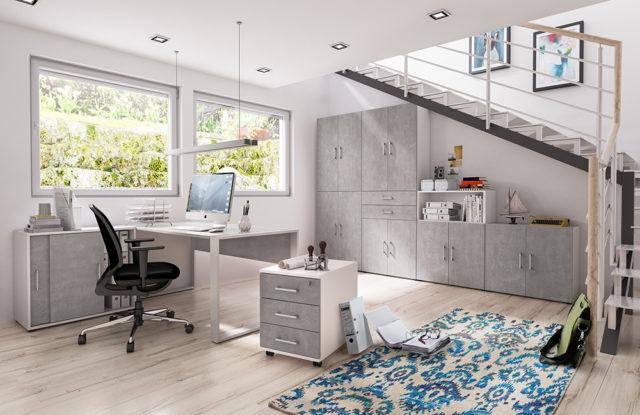 home.office von Röhr-Bush - 7-teiliges Büromöbel-Set weiß-Beton
