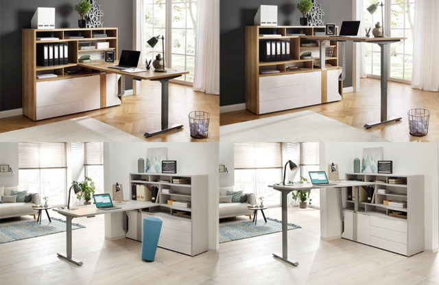 eDJUST von Maja - höhenverstellbarer Schreibtisch mit Minioffice