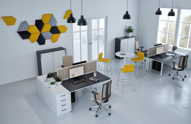 E10 von Nowy Styl - 3-teiliges Büromöbelset weiß-grau