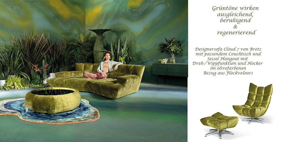 Sofa und Couchtisch Cloud 7 von Bretz sowie Relaxsessel Hangout von Bretz