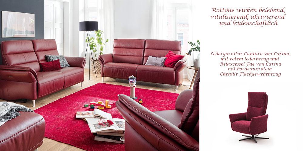 Ledergarnitur Cantaro und Relaxsessel Fae von Carina
