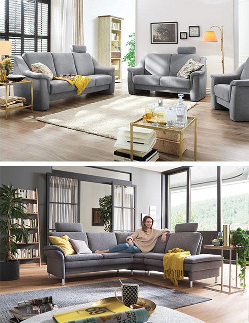 Graue Sofas mit gelben Accessoires